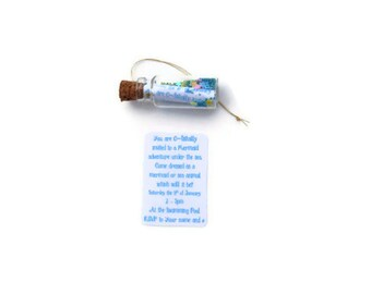 Mermaid Party Invitations, Message in a bottle