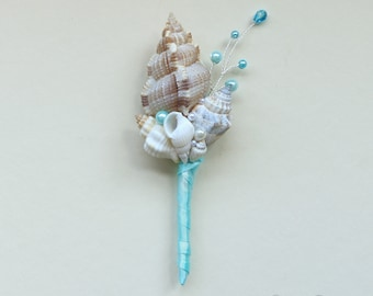 Turquoise seashells boutonniere for beach wedding. Seashells boutonniere.