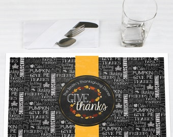 Set of 12 Give Thanks Placemats - Thanksgiving Party Supplies