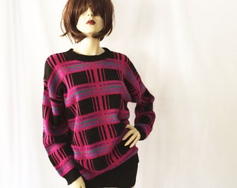 80s Clifton Place Neon Plaid Oversized Sweater
