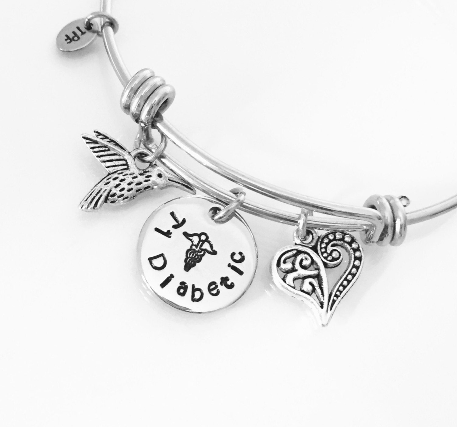 diabetes diabetic cute medical type pin bracelet by custom
