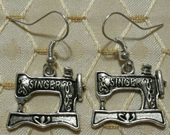 Singer Sewing  Machine Earrings Crafter Seamstress