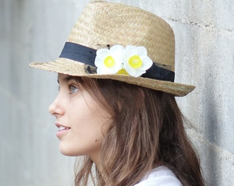 Fedora hat , Custom hats , Sun hat , Hats for women , with daffodil decoration.