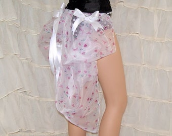 White Floral Organza Mid Length Satin Bow Bustle Wrap MTCoffinz - All Adult Sizes SALE last chance