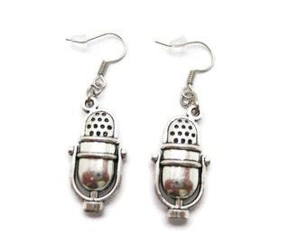 Microphone Earrings Radio Earrings Singer Earrings Microphone Jewelry Radio Jewelry Singer Jewelry Gifts Under 20  Music Lover Earrings
