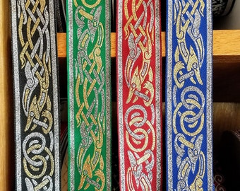 Celtic Beastie Metallic Woven Fabric Trim 1 1/4 inch wide by the yard