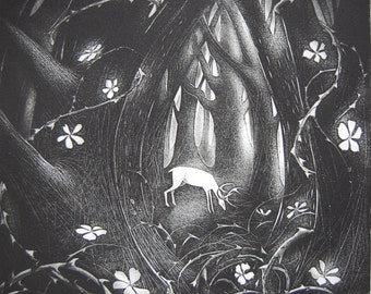 The thicket, etching by Flora McLachlan, deer in forest, wild roses briars thorns dusk trees woods stag