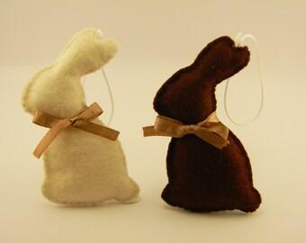 Easter chocolate bunny ornaments, easter decorations, spring decor, felt bunnies, felt rabbit, easter ornaments, Easter gift