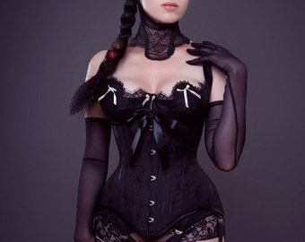 Black floral broche English coutil tightlacing waist training custom corset