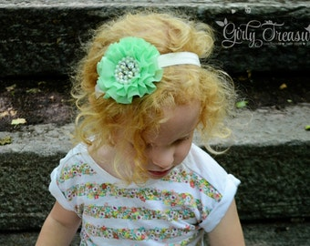 Mint Flower Headband. Baby Mint Headband. Toddler Headband. Girl Headband. Newborn Headband. Photo Prop.