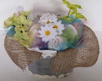 Rustic baby bouquet- baby shower ideas - baby burlap shower decorations - baby shower centerpiece - garden baby shower - wildflowers baby