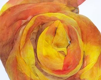 "Silkscarf ""Fall in Orange"", silk, scarf, shawl, chiffon, long scarf, one of a kind, handpainted, Silkpainting, wearable art"