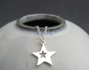 """small silver star necklace. tiny lucky star cut out charm sterling pendant simple everyday jewelry. dainty delicate. gift for her women 1/2"""""""