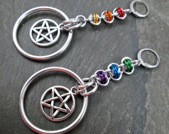 Earrings for Tunnels - Rainbow Pentacles - Rainbow Witch Earrings - Rainbow Jewelry - Pagan Earrings - Pride Jewelry - Chainmaille Earrings