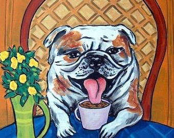 25% off bulldog art - Bulldog TILE, bulldog art, gift, coaster, coffee , coffee art, dog, dog art, dog tile,gift, modern dog art