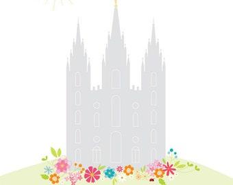 LARGE LDS Temple Printout - 16 x 20 inch - Printable digital file - Instant Download - Summer