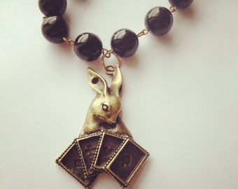 Rabbit with Playing Cards Big, Chunky Statement Necklace, Alice in Wonderland