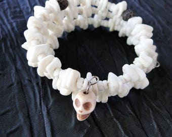 Diffuser Bracelet with White Shells and Skull Charm