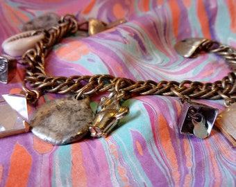 Vintage charm assemblage bracelet