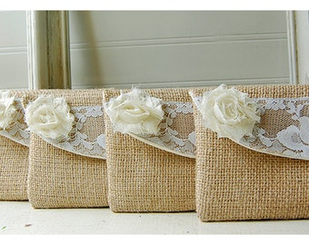 Ivory Lace Bridesmaid Clutch, Rustic Wedding, Linen and Lace Clutches Set of 7 Personalized Bridesmaid Gift Idea Clutch Country Wedding