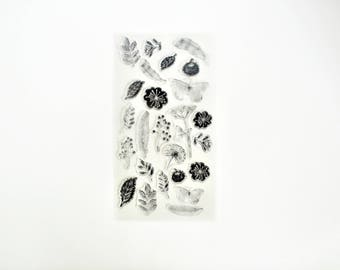 Flower Garden Transparent Stamp, Rubber Stamps, Travel Stamps for Traveller's Notebook, Journal Accessories - STM074