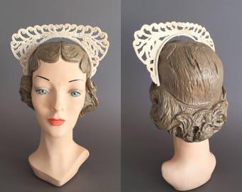 Ivory beaded headband crown. vintage 1950s bridal crown. 50s wedding headpiece
