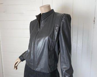 Veste en cuir New Wave en gris-80 s des années 1980 Vintage court futuriste Cyber Sci Fi Sheplers-Western Space cow-girl col haut manches bouffantes