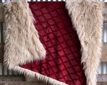 Burgundy Lattice Minky with Latte Curly Alpaca Heavy Adult Sized Blanket by The Handmade Heifer