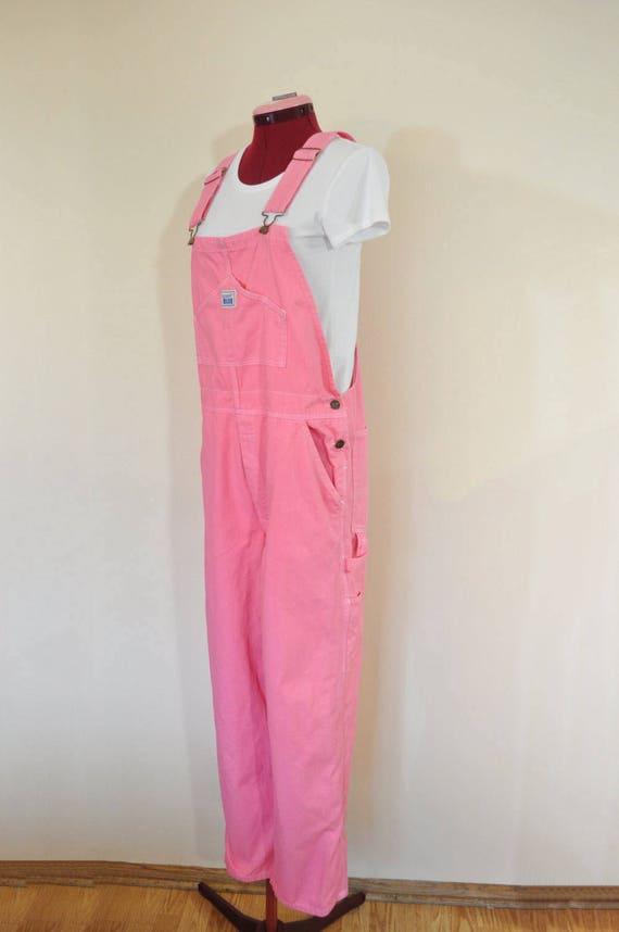 Red Mens Medium Bib OVERALL Pants - Amethyst Pink Mottled Dyed New Rugged Blue Cotton Denim Overalls - Adult Mens Womens Large (34 w x 34 L) 6uhWa
