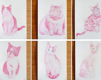 Custom made cat watercolour painting (original artwork)