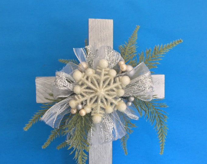 Christmas Cemetery cross, holiday floral memorial,  winter grave decoration, memorial cross, Floral Memorial, grave marker, in memory of
