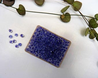 20 g large seed beads 4 mm translucent purple - BGRM box