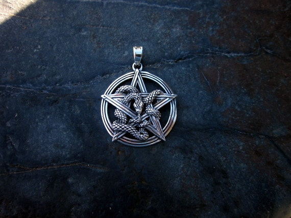 Sterling Silver Pentagram with Snake Pendant - #460