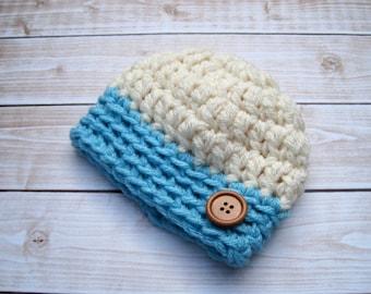 Baby Boy Hat, Baby Boy Beanie, Baby Boy Hospital Hat, Newborn Hats, Baby Boy Gift, Blue Baby Hat