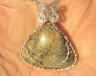 Scenic Jasper, Cabochon wire wrapped Pendant in Argentium silver wire.