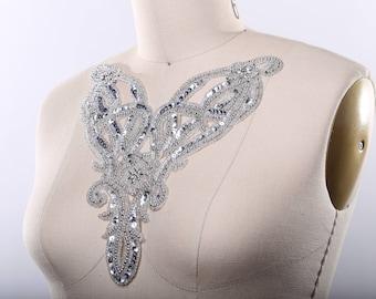 Silver Applique/ Silver Beaded Applique/ Silver Collar Applique/ Victorian Applique Costume Applique