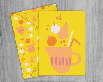 Fruit Punch Greetings Card, Envelope and Wrapping paper Pack. A4 Printable digital download.