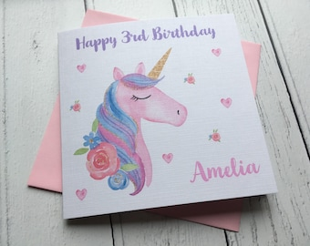 Card for teenager etsy personalised unicorn girls birthday card greeting card teenager daughter granddaughter niece bookmarktalkfo Image collections
