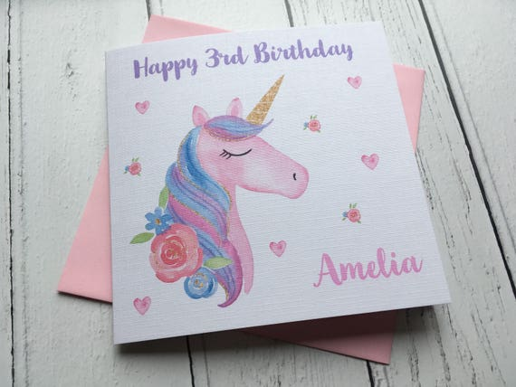 Personalised Unicorn Girls Birthday Card Greeting Card