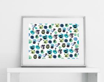 watercolour pattern illustration, scandinavian art print, illustration print, wall art print, watercolour print, wall prints