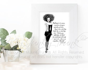 Confident- African American Natural Hair Fashion Illustration Black and White Art Print