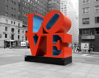 New York Photography, LOVE, Black and White, Red, Wall Art, Valentines, Modern Art, Contemporary, Urban Art, gifts for him