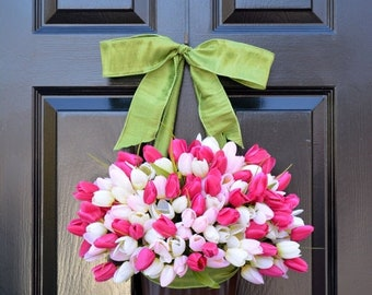 SPRING WREATH SALE Spring Mother's Day Wreath Spring Wreath Tulip Wreath Gift for Mom Wreath for Spring Custom Size