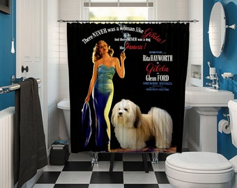 Havanese Art Shower Curtain, Dog Shower Curtains, Bathroom Decor - Gilda Movie Poster  Perfect CHRISTMAS Gift SALE 25 off Free Shipping