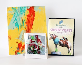 Art Gift Set // Abstract and Colorful // Super Pony DVD // Horse Greeting Cards // Original Painting