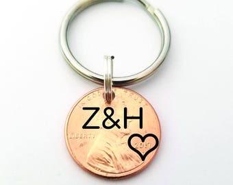 Custom Penny Keychain - Boyfriend Gift - Anniversary Gift for Boyfriend - Valentines Gift - Anniversary Gift for Men - Husband Gift