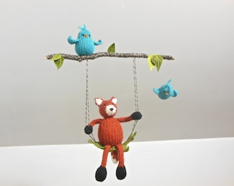 Baby Mobile, Woodland Nursery Mobile, Fox Hanging Mobile, Crib Mobiles, Fox on a Swing, Bird Branch Mobile, Gender Neutral, Boy Nursery