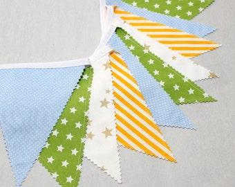 Bunting Flag, Fabric Banner, Star Garland, Baby Blue, Gold, Yellow, Nursery Wall Decor, Newborn photo prop, Nursery Bunting, Baby Boy Shower