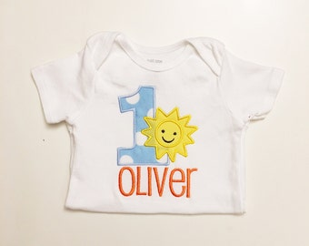 Boy Sunshine 1st Birthday Shirt Bodysuit- Personalized- You Are My Sunshine