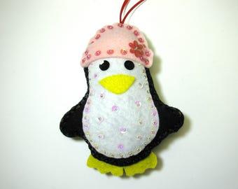 Penguin felt ornaments - Christmas ornaments - Hanging Ornaments - Holiday ornaments
